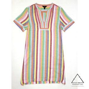 J. Crew V Neck Linen Candy Stripe Dress